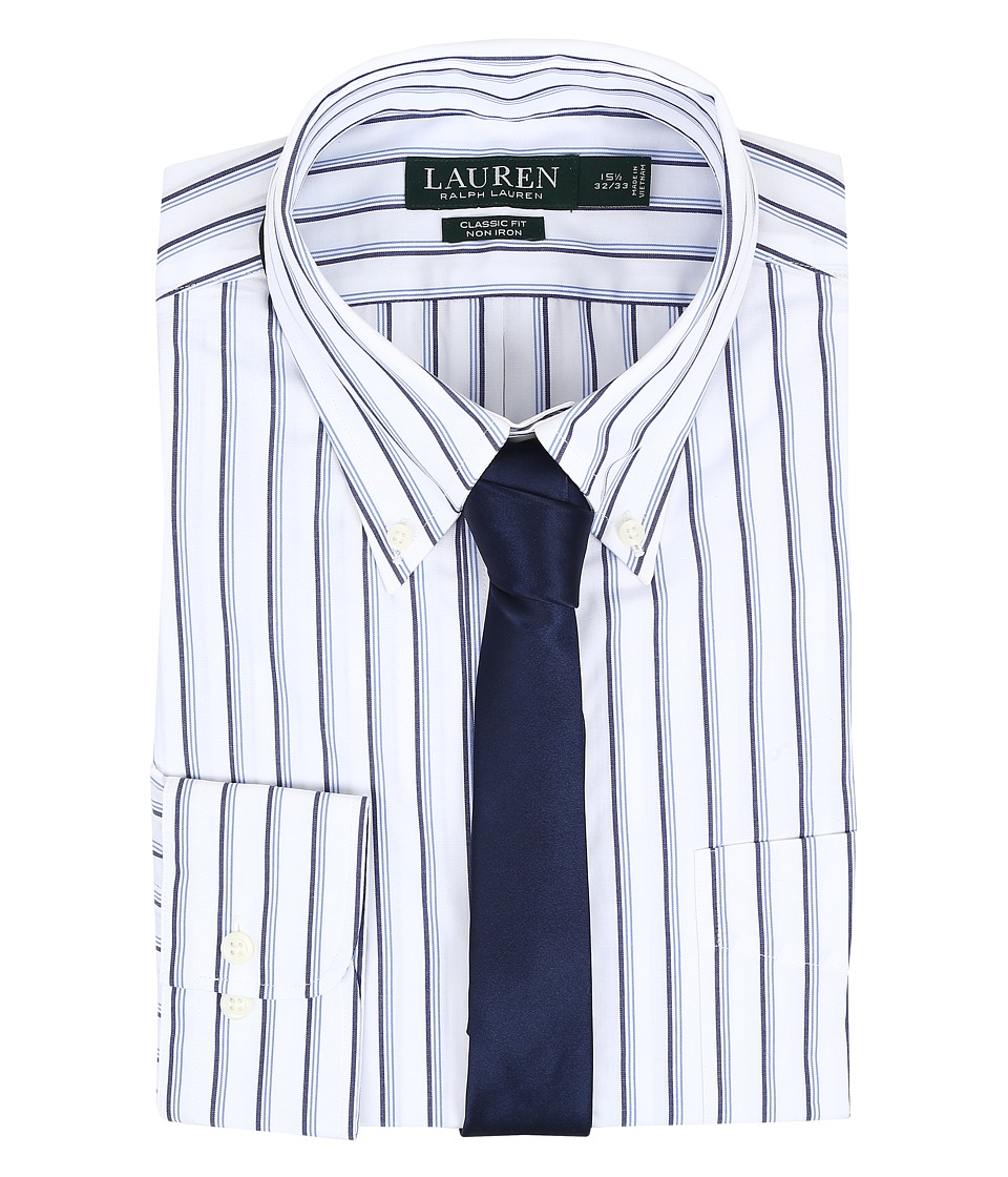 LAUREN Ralph Lauren - Classic Button Down with Pocket Dress Shirt (White/Blue/Navy) Men's Long Sleeve Button Up