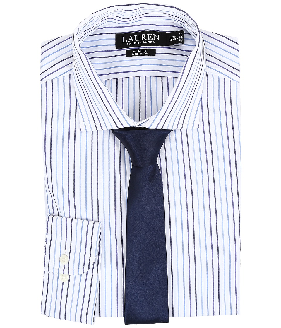 LAUREN Ralph Lauren - Slim Estate Collar (White/Bond/Navy) Men's Long Sleeve Button Up