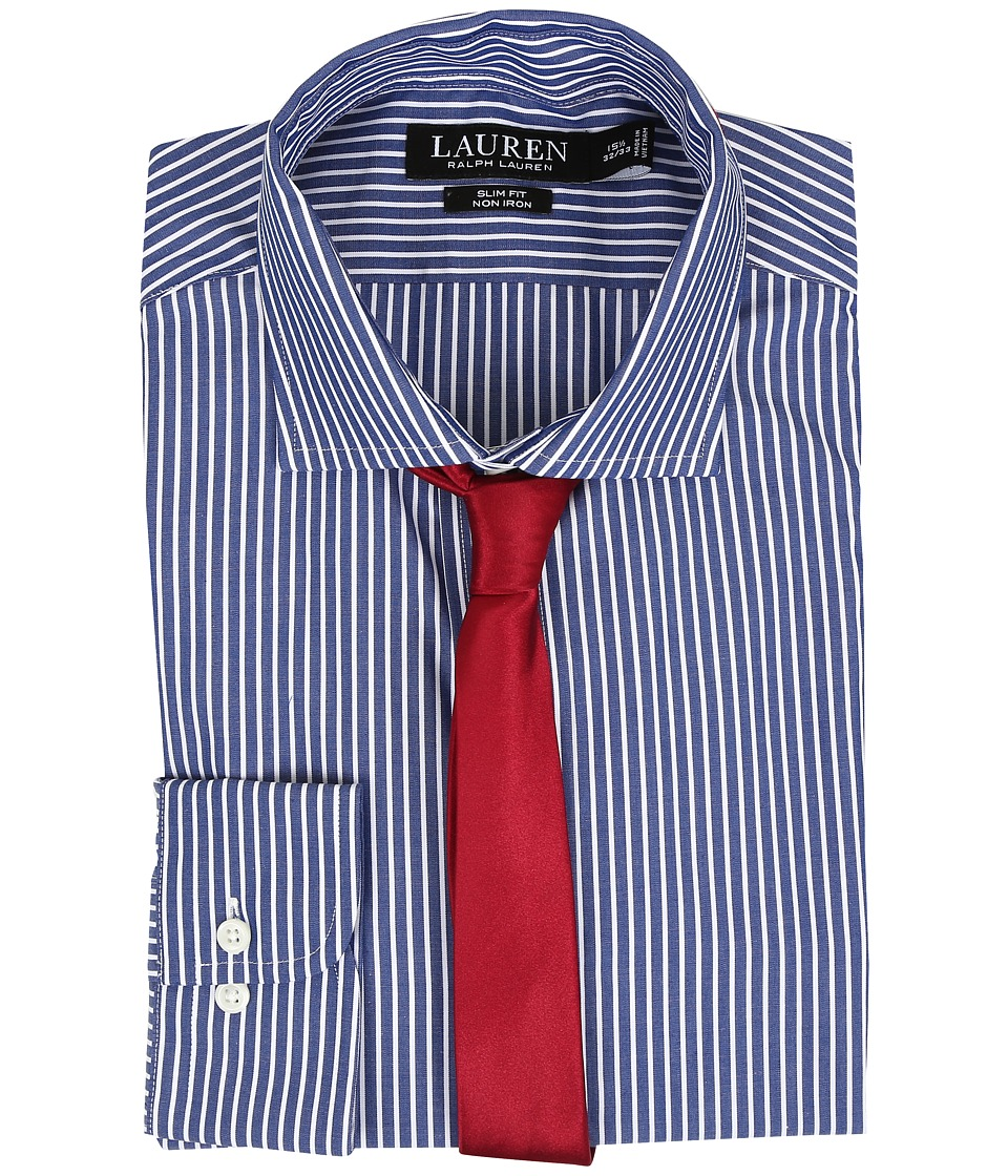 LAUREN Ralph Lauren - Slim Estate Collar (Bond/Navy/White) Men's Long Sleeve Button Up