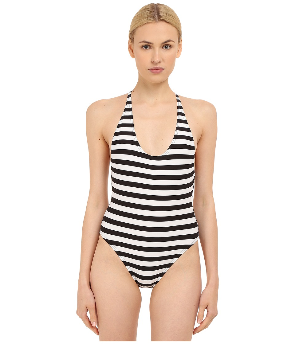 Proenza Schouler - Strappy Crossback Maillot One-Piece (Black/White) Women's Swimsuits One Piece