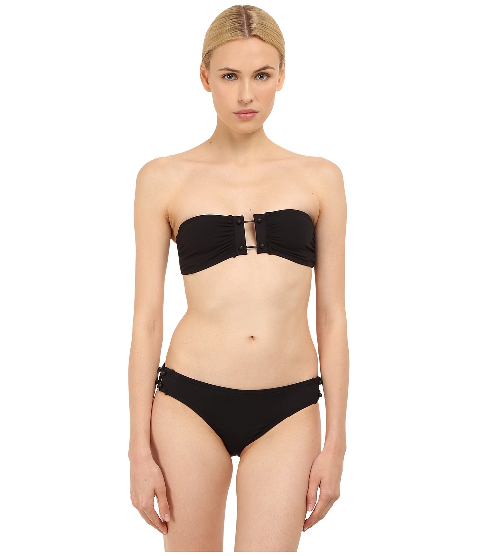 Proenza Schouler - Barbell Trim Bandeau Top w/ Low Waisted Bottom (Black) Women's Swimwear Sets