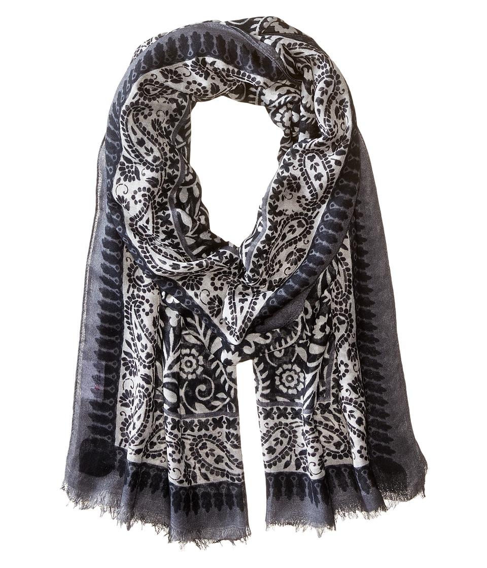 Bindya - Black/White Floral (Black/White) Scarves