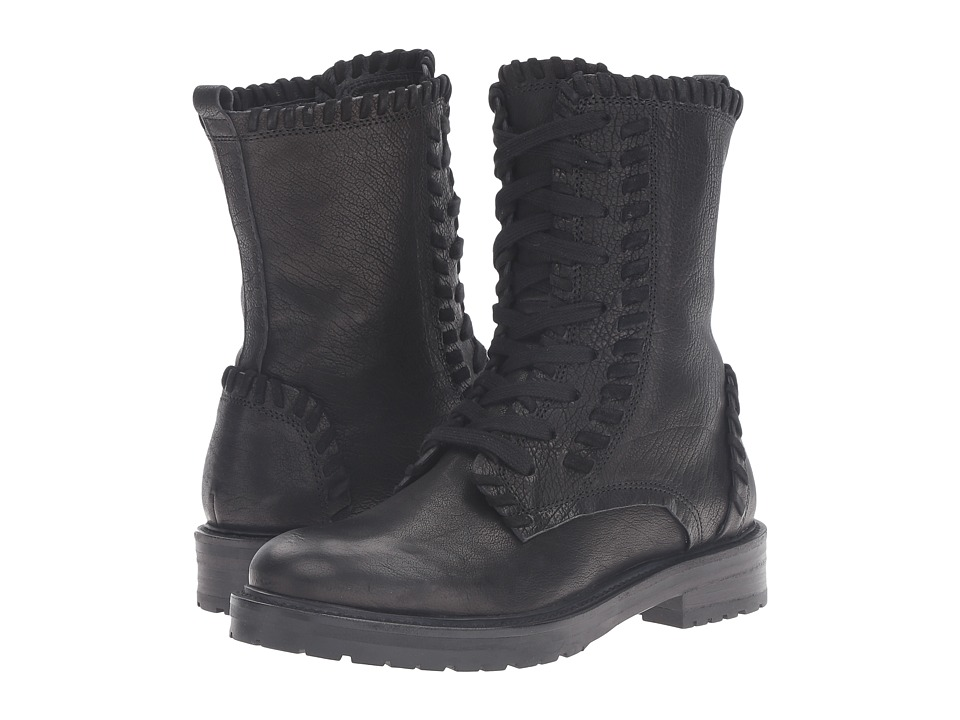 Kennel & Schmenger - Contrast Stitch Combat Boot (Black Leather) Women's Boots