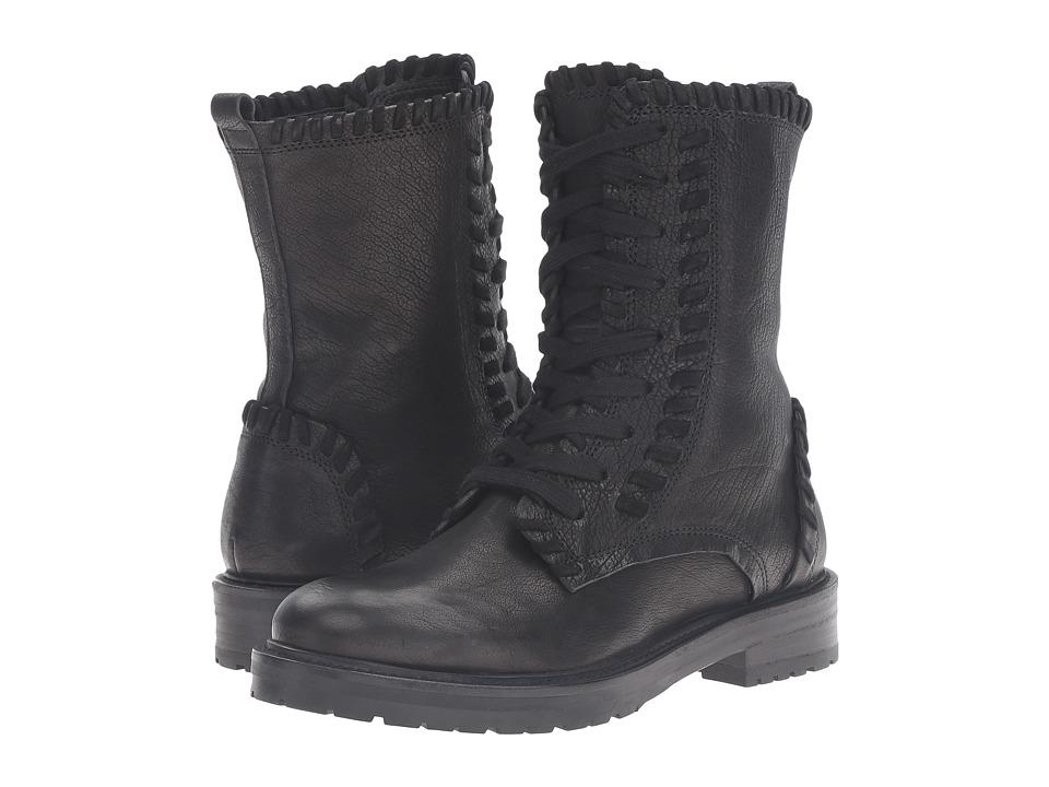 Kennel & Schmenger - Contrast Stitch Combat Boot (Black Leather) Women's Boots