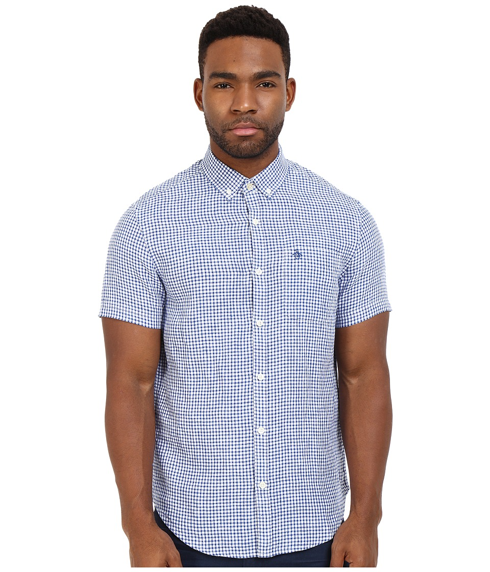 Original Penguin - Short Sleeve Linen Core Gingham (True Blue) Men's Short Sleeve Button Up