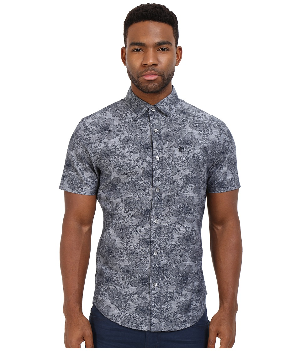 Original Penguin - Short Sleeve Chambray Floral Print (Dark Sapphire) Men's Short Sleeve Button Up