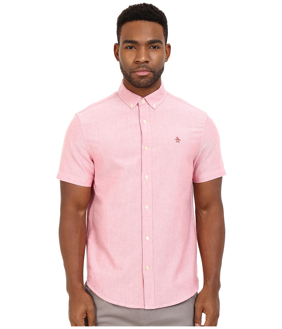 Original Penguin - Short Sleeve Updated Core Oxford (Rococco Red) Men's Short Sleeve Button Up