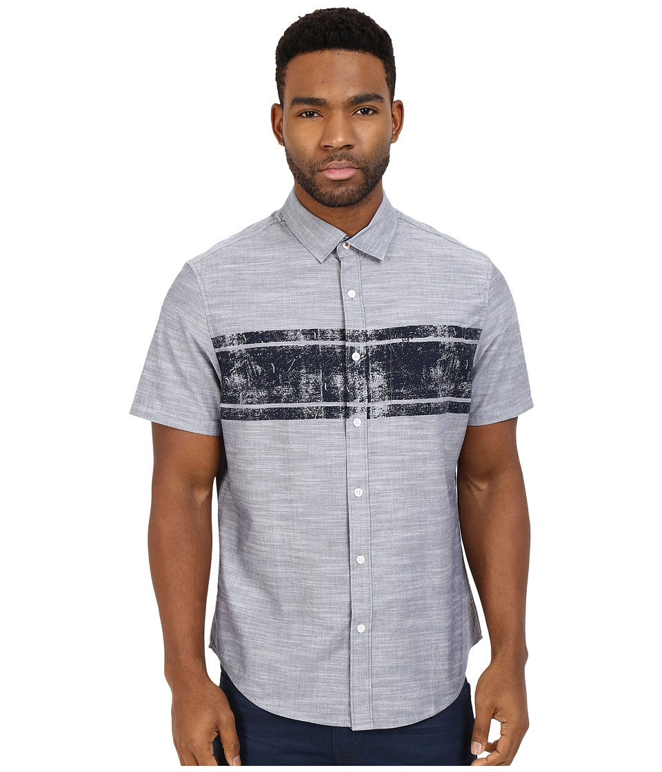 Original Penguin - Short Sleeve Chambray w/ Chest Stripe (Dark Sapphire) Men's Short Sleeve Button Up