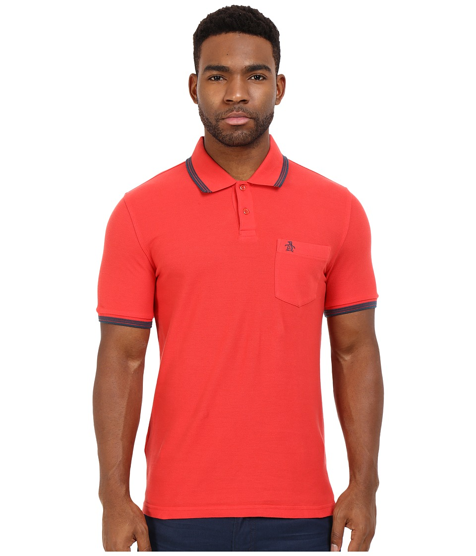 Original Penguin - Garment Dye Polo (Rococco Red) Men's Short Sleeve Knit