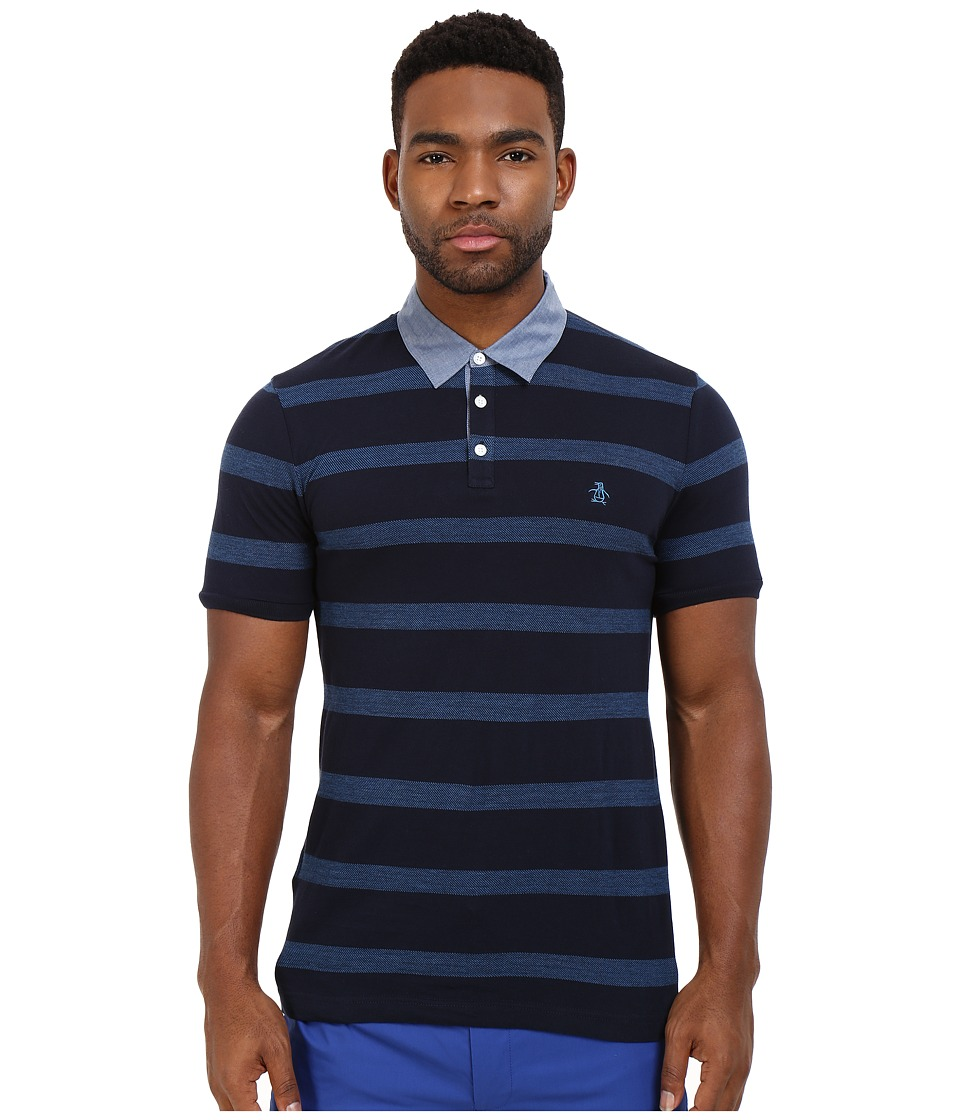Original Penguin - Jacquard Twill Stripe Polo with Chambray Collar (Dark Sapphire) Men's Short Sleeve Pullover