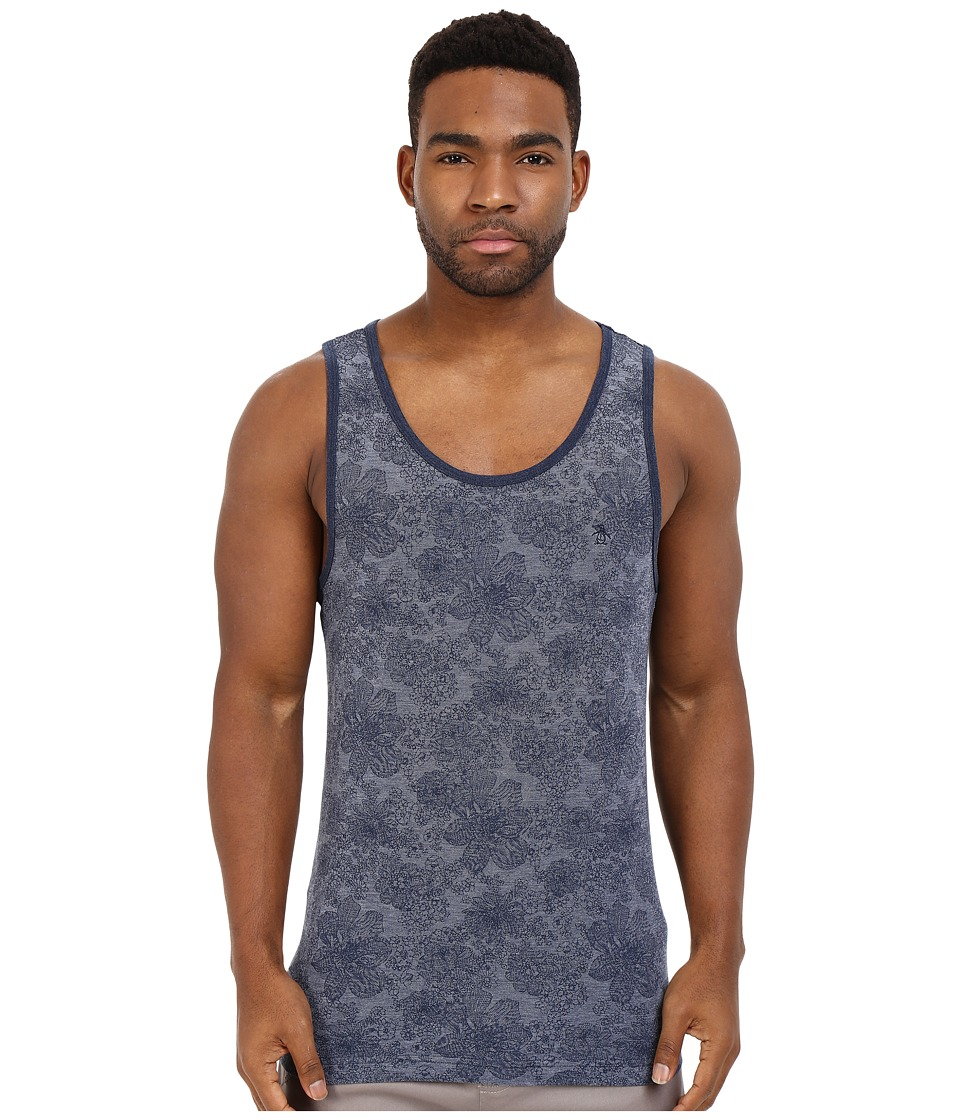 Original Penguin - Floral Heritage Tank Top (Dark Sapphire) Men's Sleeveless