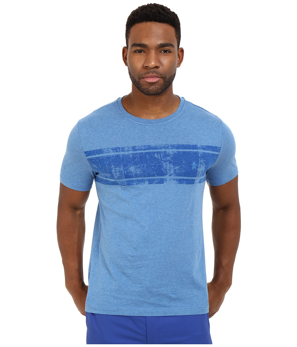 Original Penguin - Short Sleeve Distressed Chest Stripe Tee (Deep Water) Men's T Shirt
