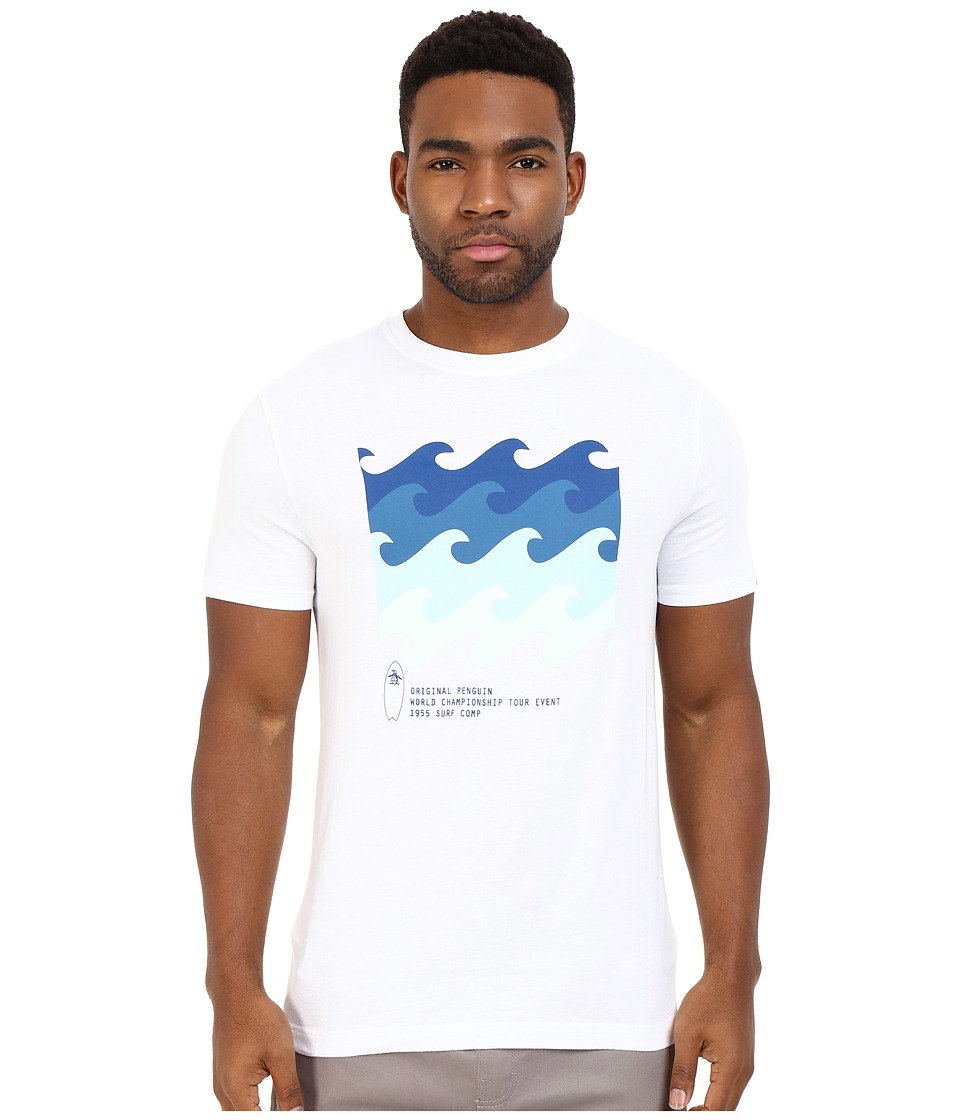 Original Penguin - Short Sleeve Surf Comp Tee (Bright White) Men's T Shirt