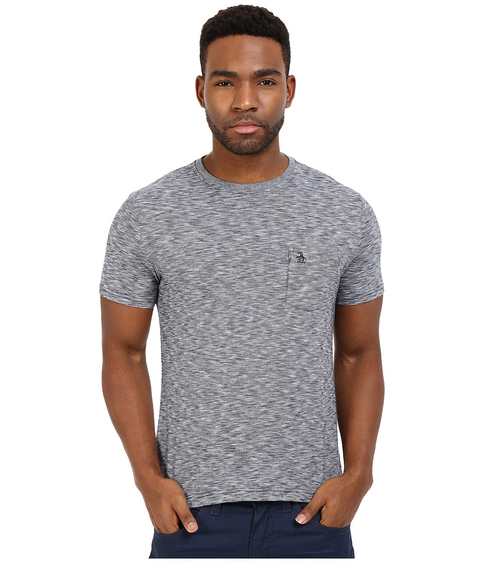 Original Penguin - Short Sleeve Drop Needle Feeder Stripe Tee (Dark Sapphire) Men's T Shirt
