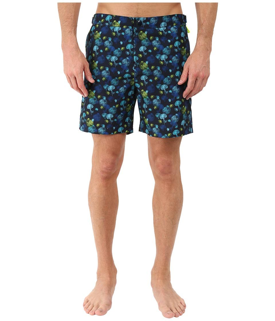 Original Penguin - Jellyfish Print Fixed Volley Swim Shorts (Dark Sapphire) Men's Swimwear
