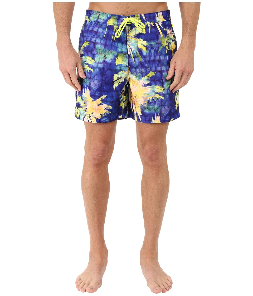 Original Penguin - Psychedelic Palms Printed Fixed Volley Swim Shorts (Electric Purple) Men's Swimwear
