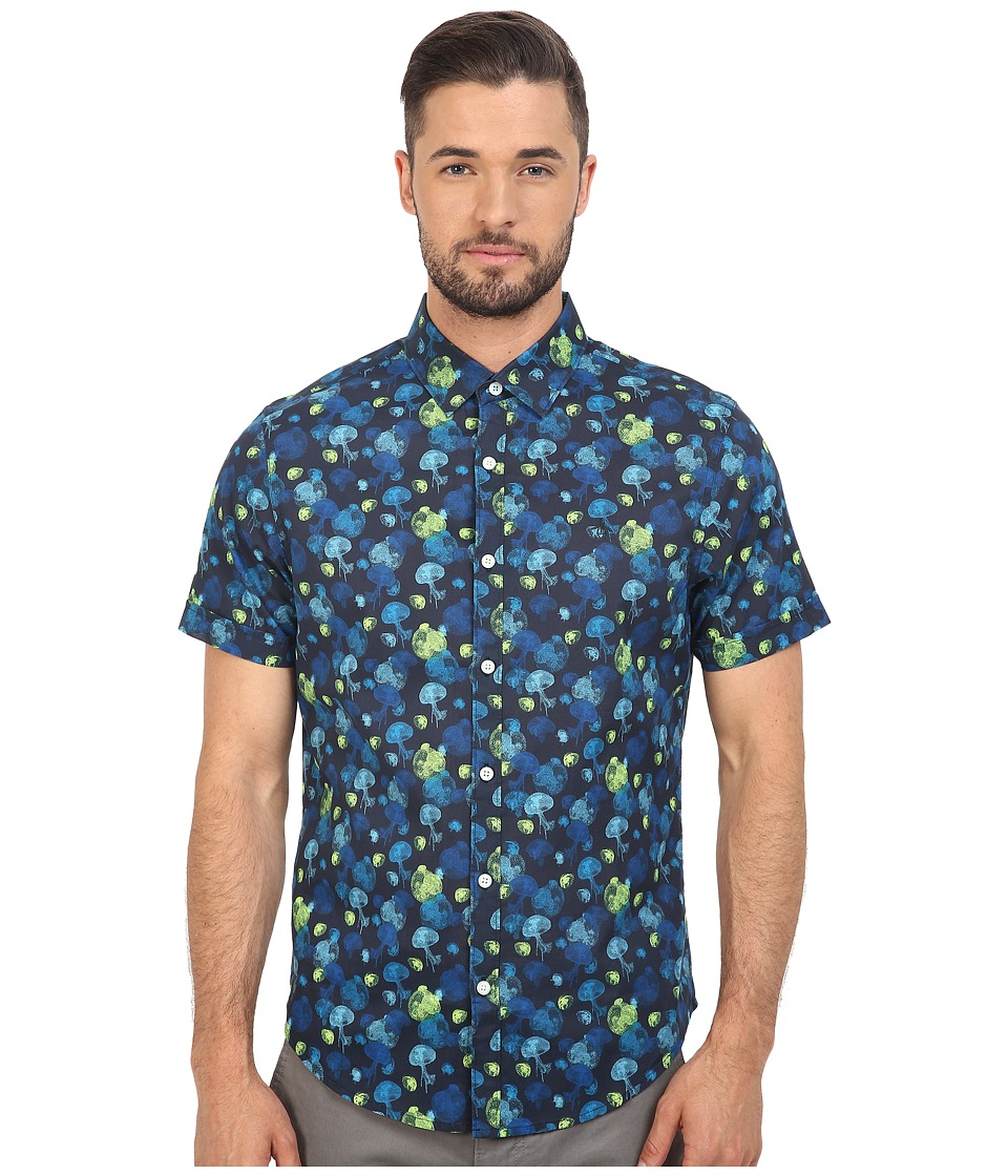 Original Penguin - Short Sleeve Jellyfish Print Lawn (Dark Sapphire) Men's Short Sleeve Button Up