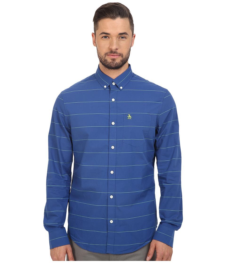Original Penguin - Long Sleeve Horizontal Neon Mini Stripe (True Blue) Men's Long Sleeve Button Up