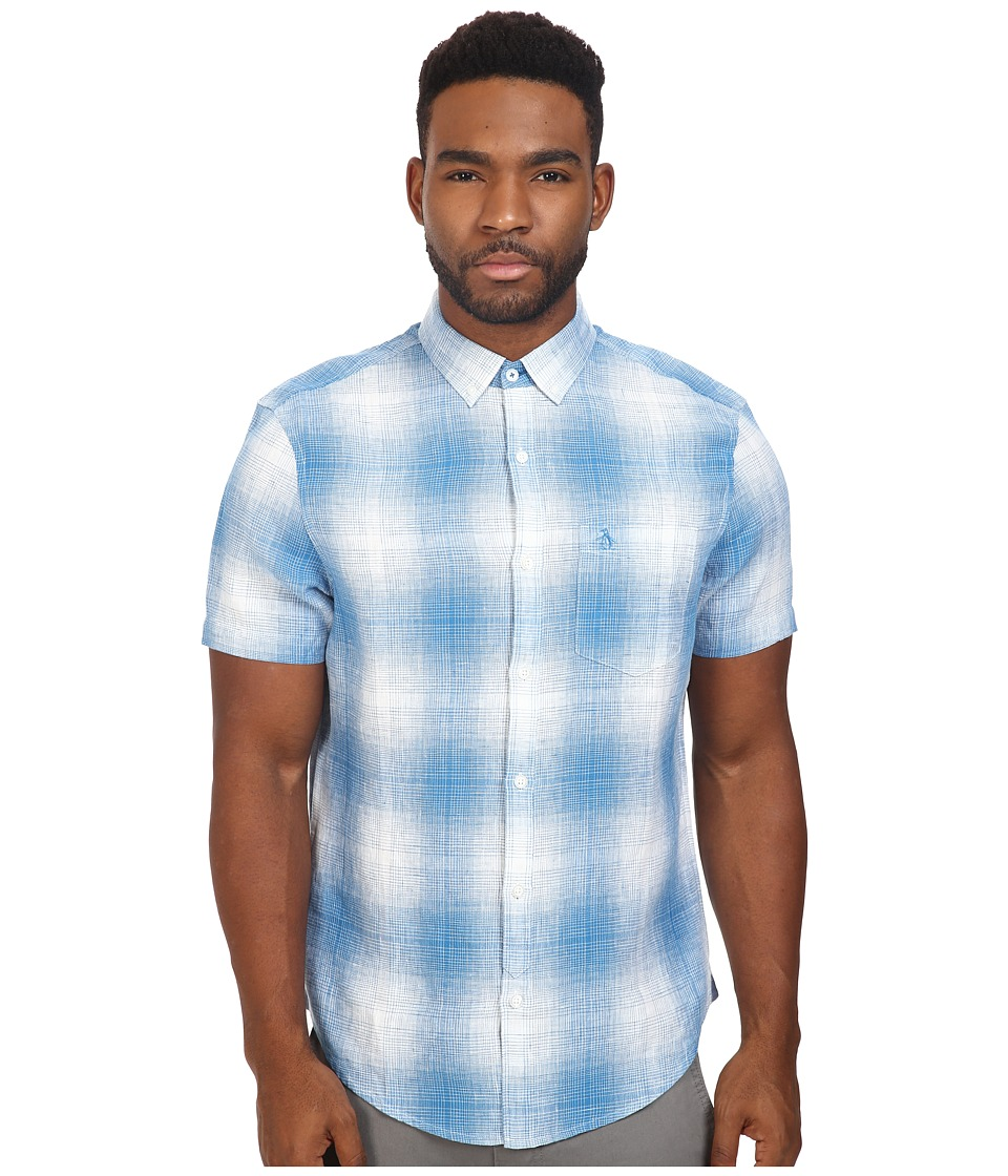 Original Penguin - Short Sleeve Gradient Plaid Linen (Deep Water) Men's Short Sleeve Button Up