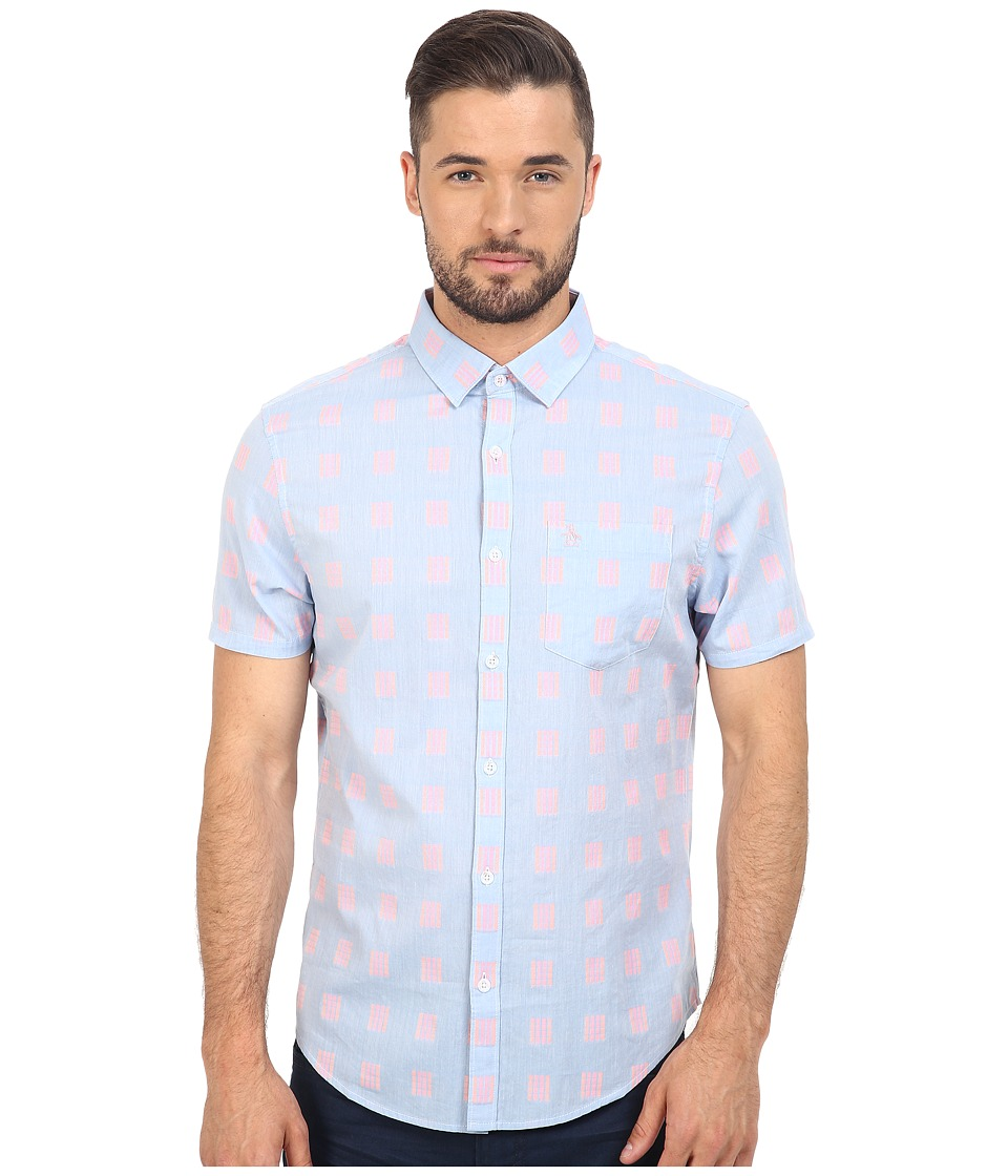 Original Penguin - Short Sleeve Chambray Neon Dobby Heritage (Deep Water) Men's Short Sleeve Button Up