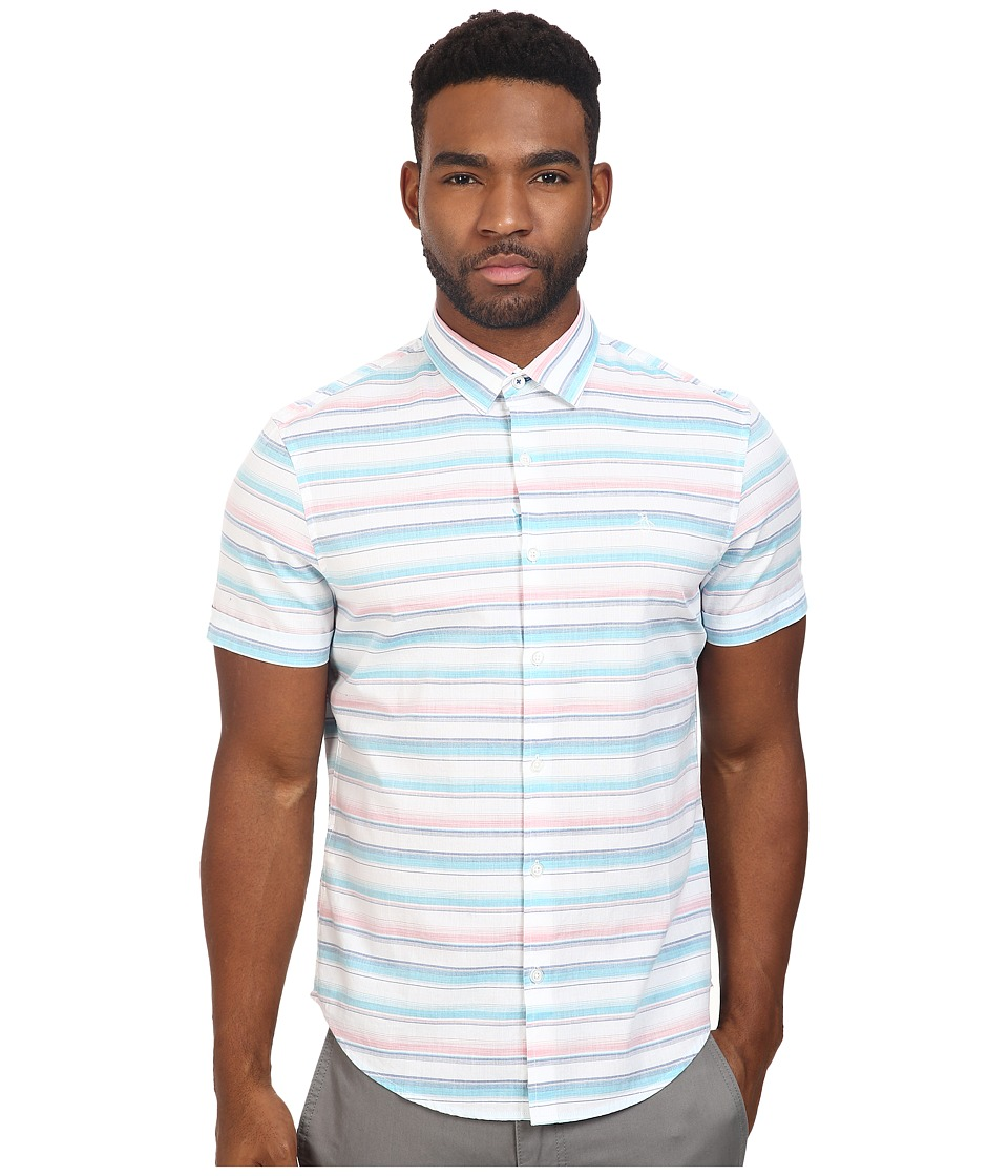 Original Penguin - Short Sleeve Yarn-Dye Space Dye Horizontal Stripe (True Blue) Men's Short Sleeve Button Up
