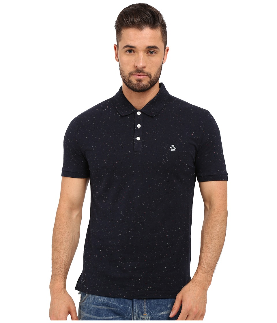 Original Penguin - Short Sleeve Neon Nep Polo (Dark Sapphire) Men's Short Sleeve Pullover