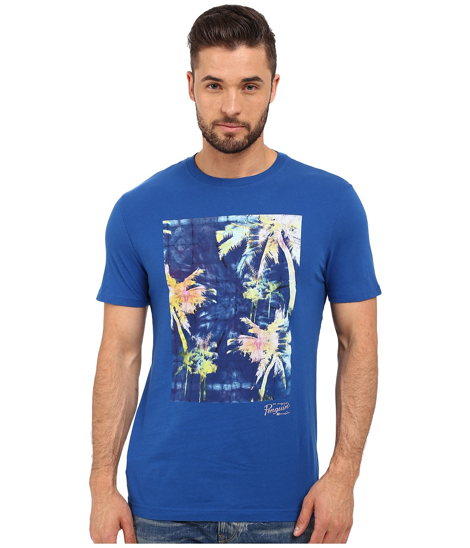 Original Penguin - Short Sleeve Neon Palm Print Tee (True Blue) Men's T Shirt