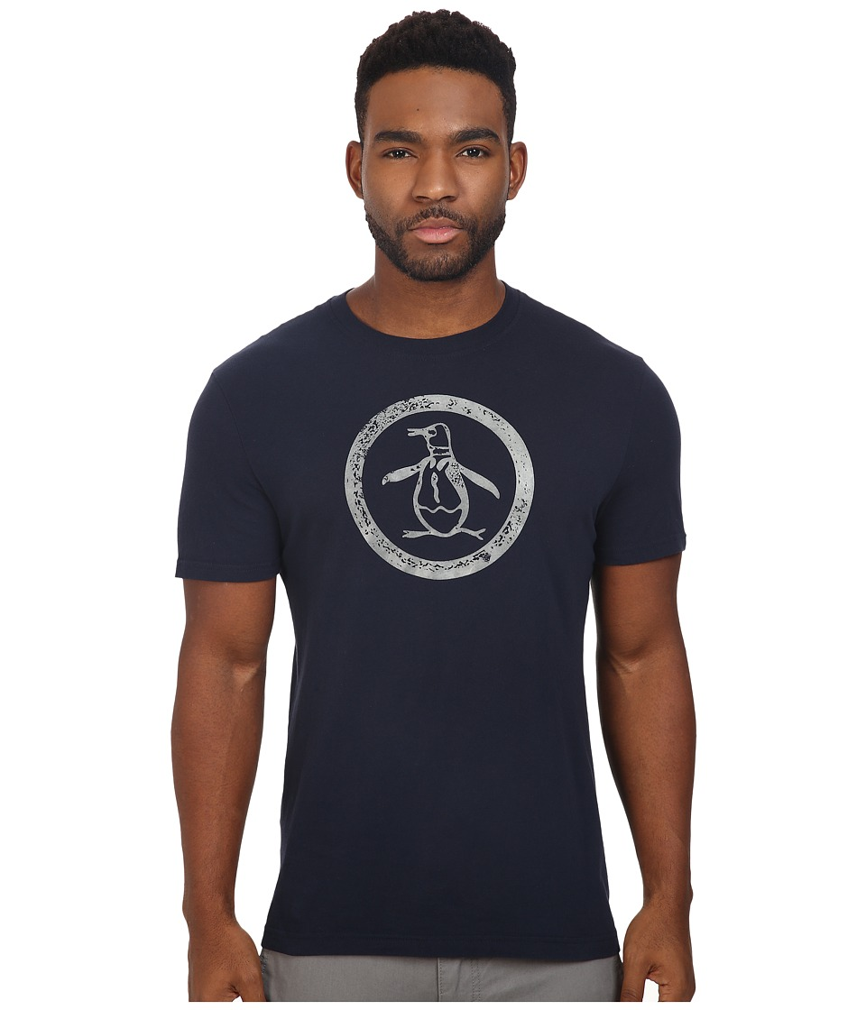 Original Penguin - Short Sleeve Glow in the Dark Circle Logo (Dark Sapphire) Men's T Shirt
