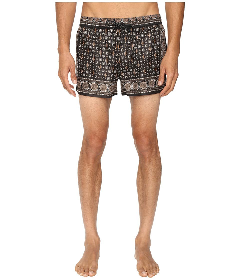 Dolce & Gabbana - M4A00TFPM53 (Black Print) Men's Swimwear