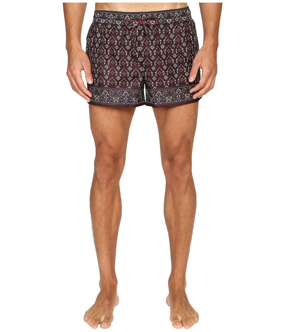 Dolce & Gabbana - M4A00TFPM50 (Bordaux Print) Men's Swimwear