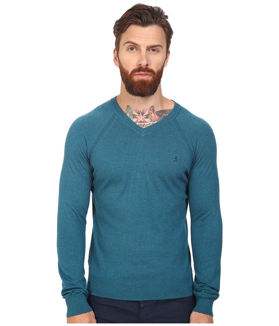 Original Penguin - Long Sleeve V-Neck Pima Cotton Sweater (Ink Blue) Men's Sweater