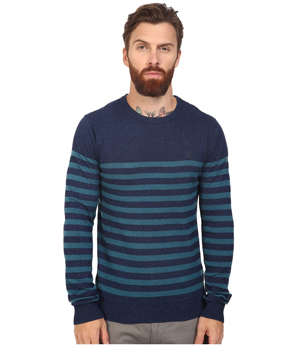 Original Penguin - Long Sleeve True Indigo Crew Neck Lightweight Sweater (Dark True Indigo) Men's Sweater