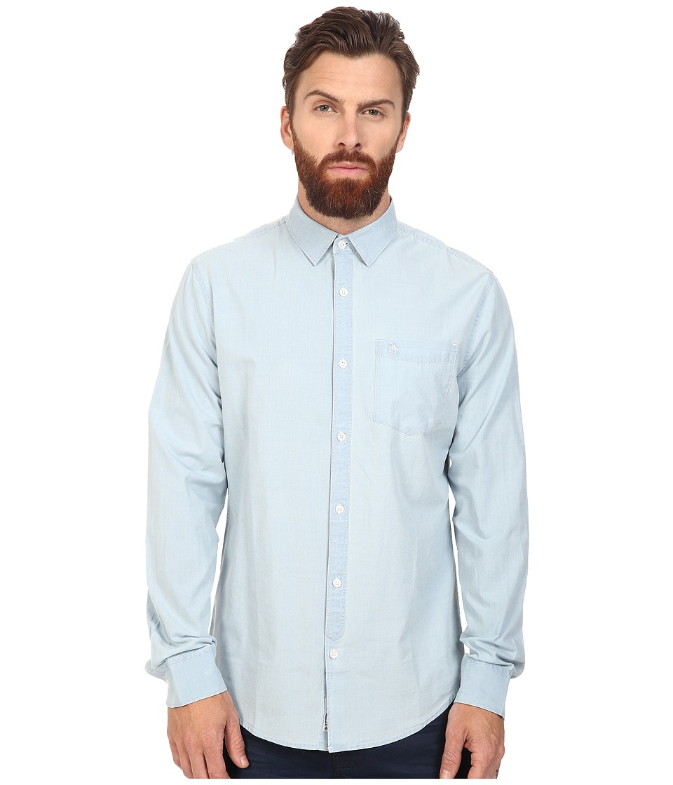 Original Penguin - Long Sleeve Indigo Lawn (Deep Water) Men's Long Sleeve Button Up
