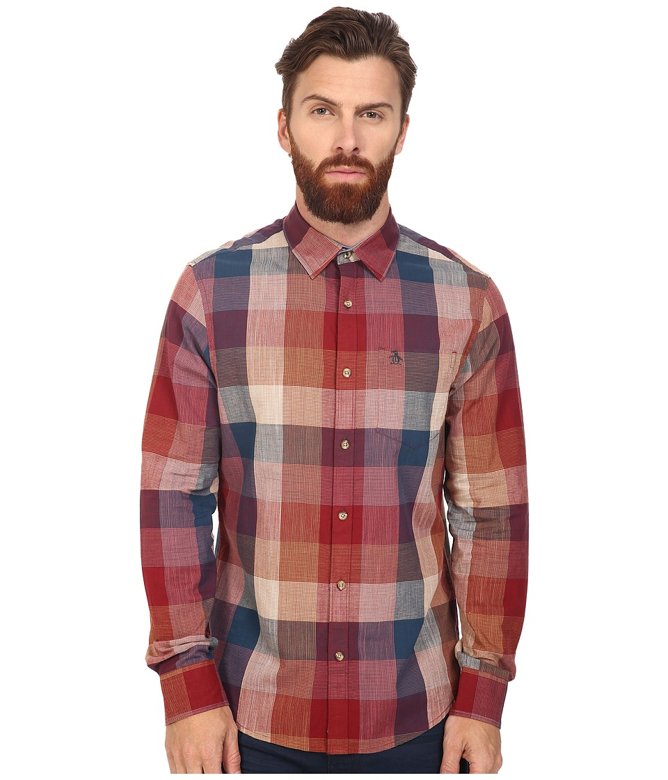 Original Penguin - Long Sleeve Slubby Lawn Large Check Plaid (Pomegranate) Men's Long Sleeve Button Up
