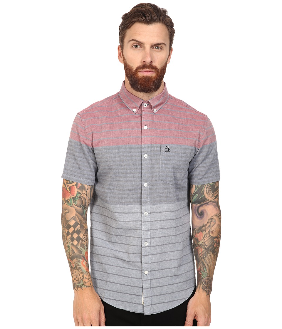 Original Penguin - Short Sleeve Engineered Color Block Lawn (Dark Sapphire) Men's Short Sleeve Button Up