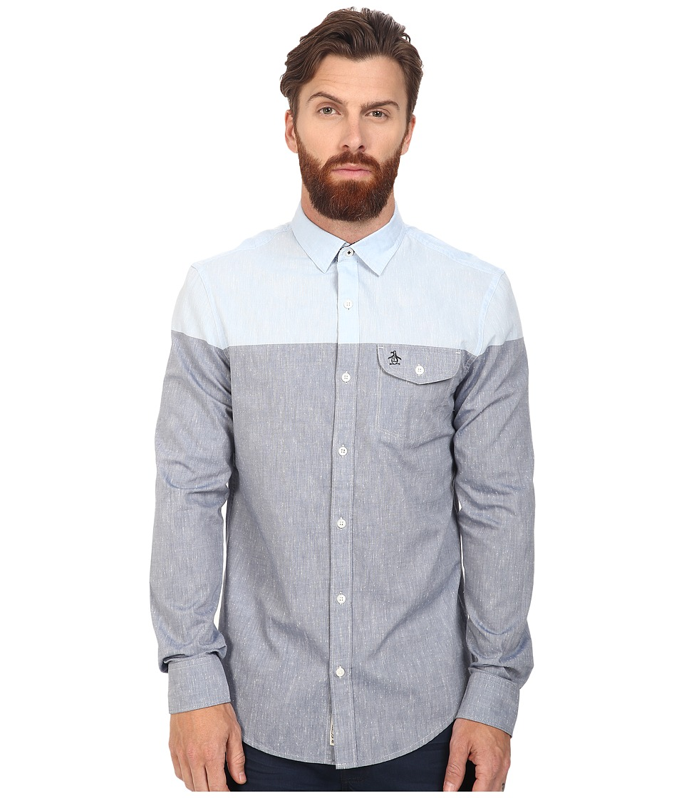 Original Penguin - Long Sleeve Color Block Nep Chambray (Dark Sapphire) Men's Long Sleeve Button Up