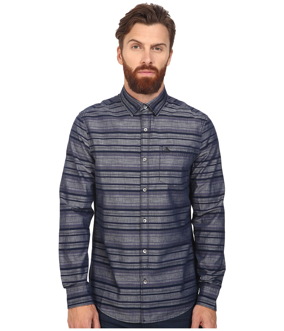 Original Penguin - Long Sleeve Horizontal Stripe Chambray (Dark Sapphire) Men's Long Sleeve Button Up