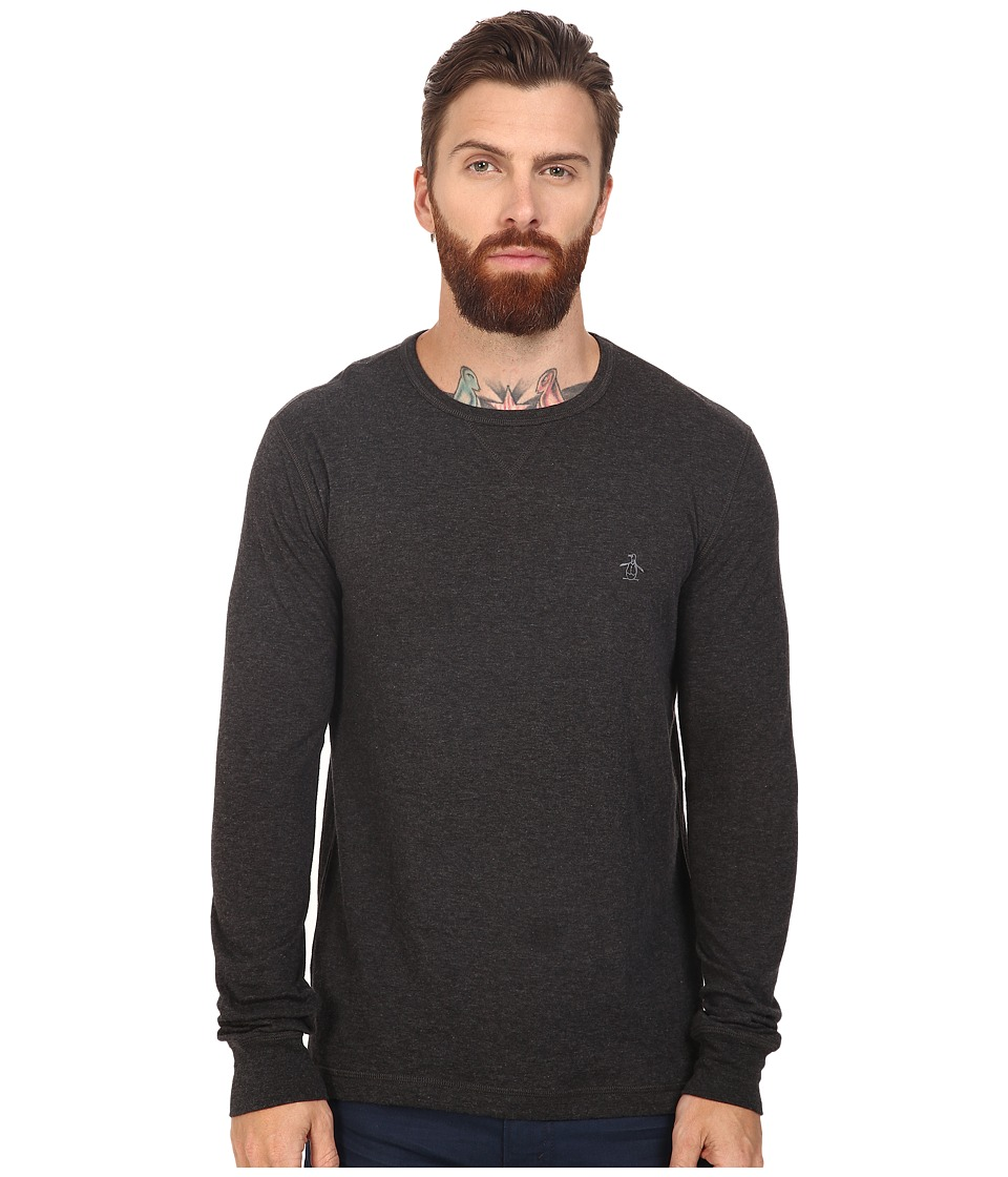 Original Penguin - Long Sleeve Reversible Crew (Dark Charcoal Heather) Men's Long Sleeve Pullover