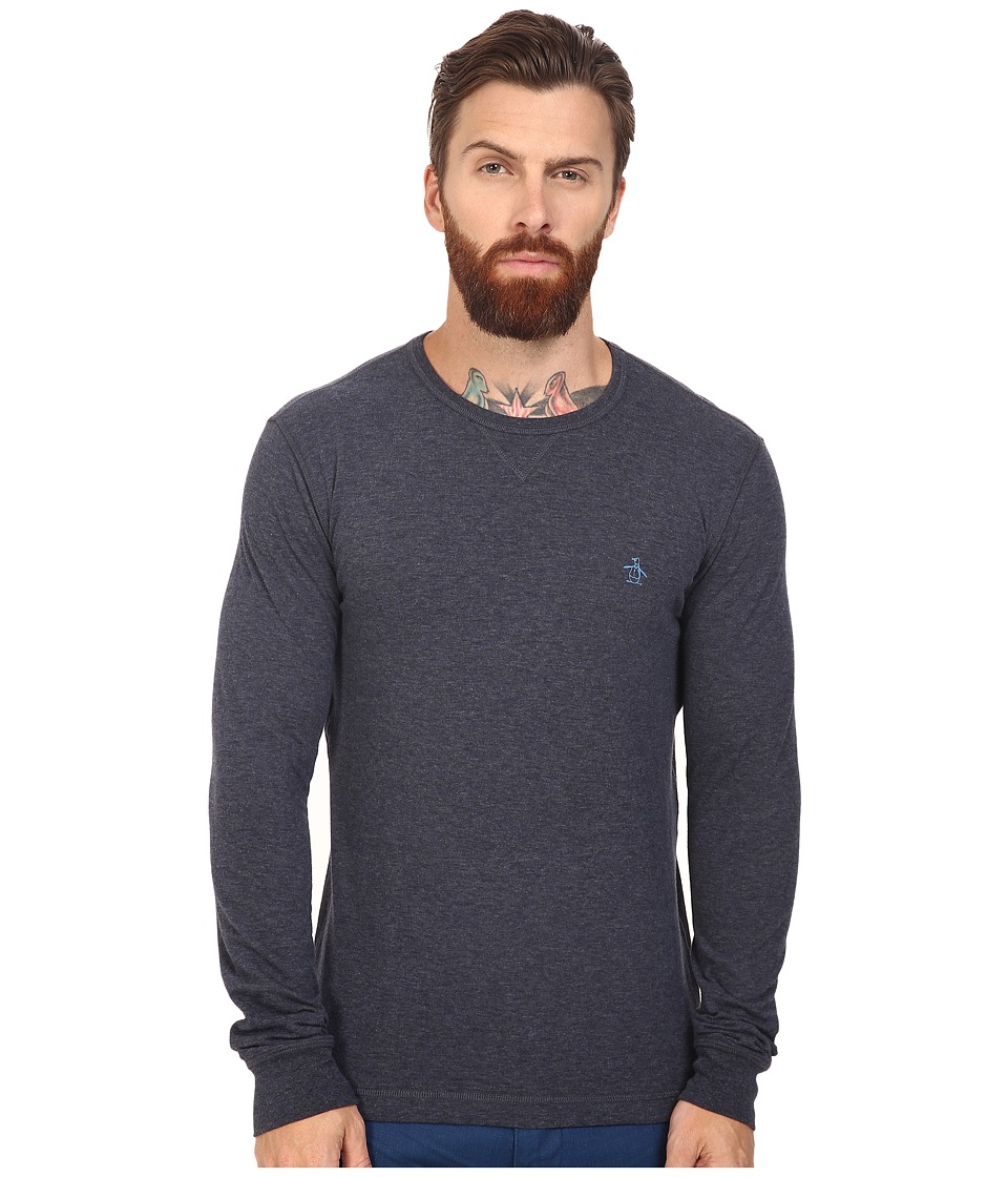 Original Penguin - Long Sleeve Reversible Crew (Dark Sapphire) Men's Long Sleeve Pullover