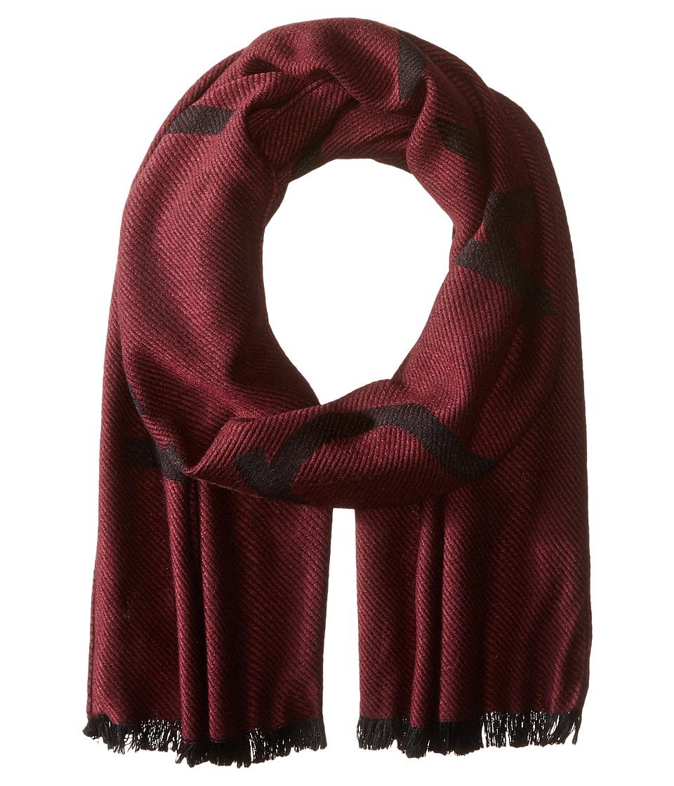 Calvin Klein - Woven Twill Logo Scarf (Burgundy) Scarves