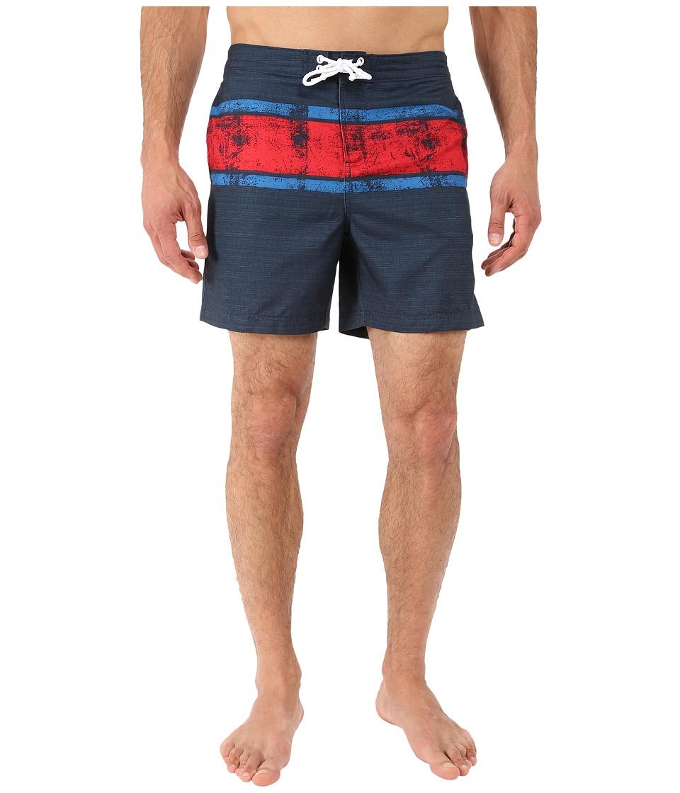 Original Penguin - Engineered Stripe Faux Slub Print Fixed Volley Swim Shorts (Dark Sapphire) Men's Swimwear