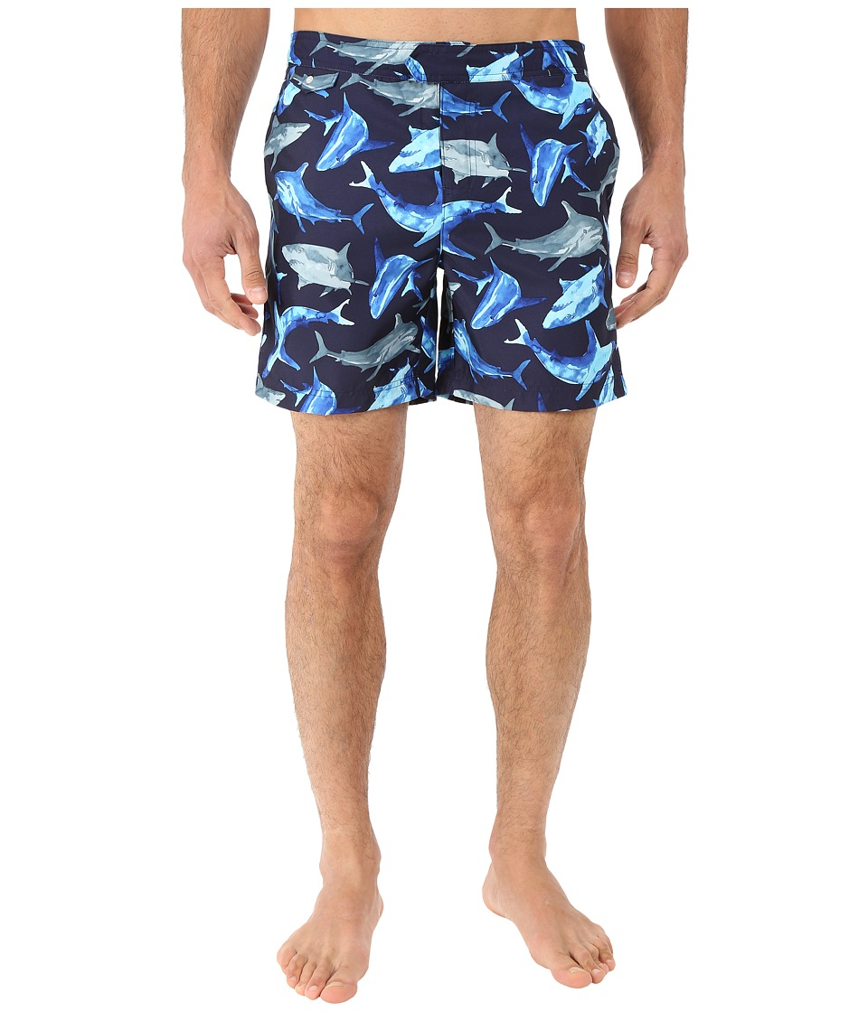Original Penguin - Watercolor Shark Fixed Volley Swim Shorts (Dark Sapphire) Men's Swimwear