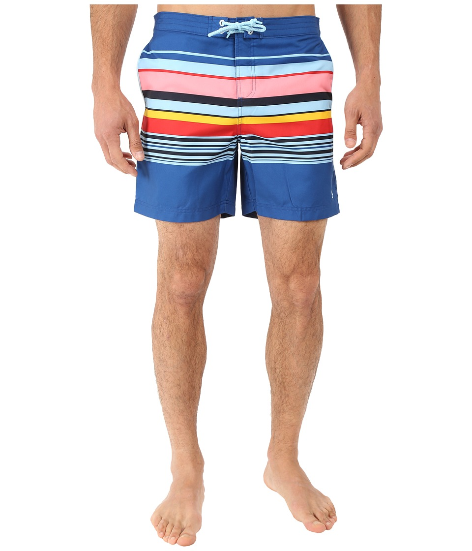 Original Penguin - Carryover Stripe Fixed Volley Swim Shorts (True Blue) Men's Swimwear