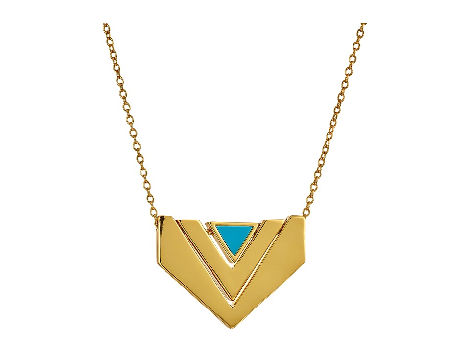 gorjana - Carmen Reversible Necklace (Gold/Turquoise) Necklace