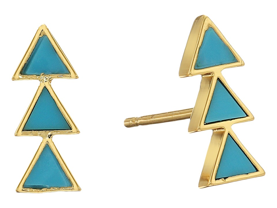 gorjana - Carmen Triple Studs Earrings (Gold/Turquoise) Earring