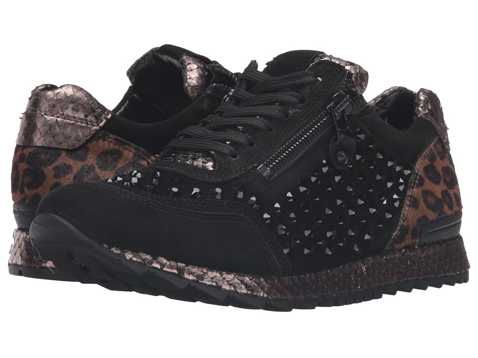 Kennel & Schmenger - Mixed Media Trainer (Black/Leopard) Women's Shoes