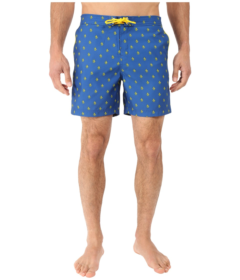 Original Penguin - All Over Penguin Print Fixed Volley Shorts (True Blue) Men's Swimwear