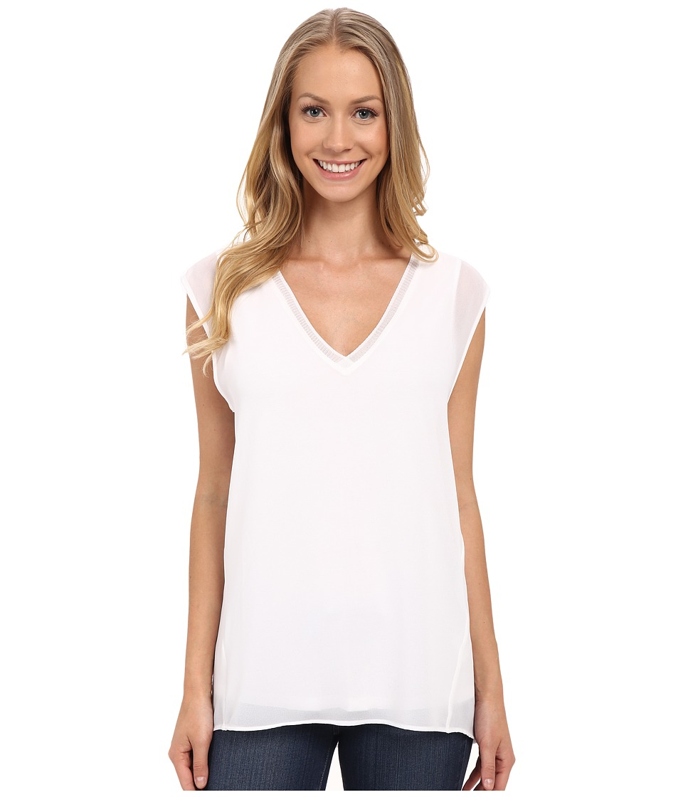 MICHAEL Michael Kors - Tank with V-Neck Rib (White) Women's Sleeveless