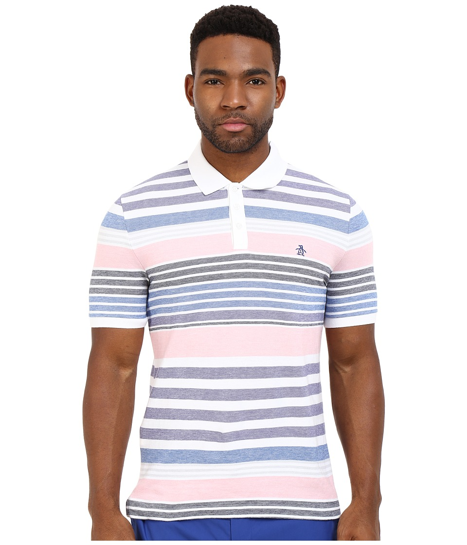 Original Penguin - Engineered Stripe Polo (Bright White) Men's Clothing