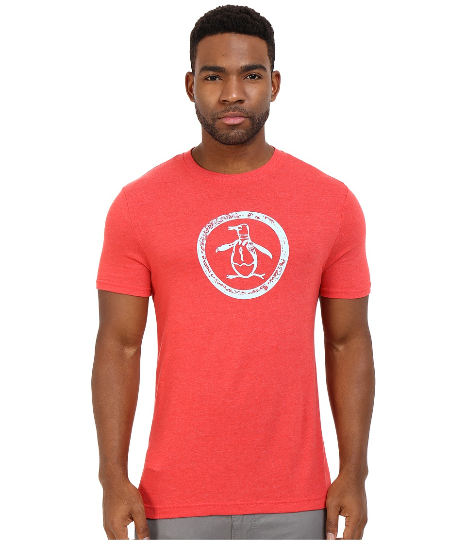 Original Penguin - Triblend Distressed Circle Logo Tee (Rococco Red) Men's T Shirt